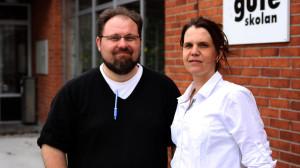 Jerry Engström och Anna Engström på Guteskolan.